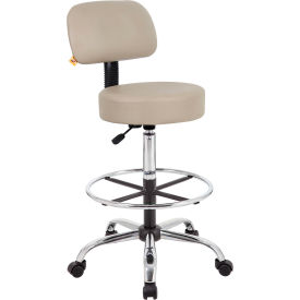 Caressoft Medical/Drafting Stool with Back Cushion & Footring Beige