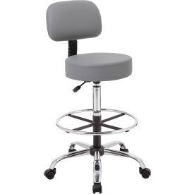 Boss Caressoft Medical-Drafting Stool with Backrest - Vinyl - Gray