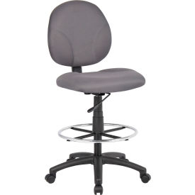 Contoured Back Drafting Stool with Footring Gray
