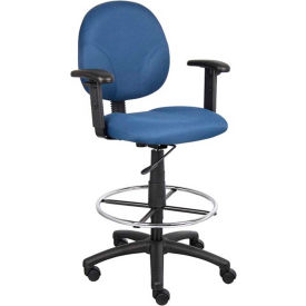 Contoured Back Drafting Stool with Footring & Adjustable Arms Blue