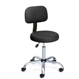 Caressoft Vinyl Medical Stool with Back Cushion Black