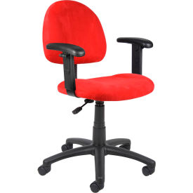 Red Microfiber Deluxe Posture Chair with Adjustable Arms