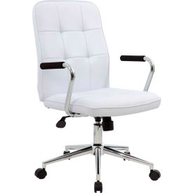 Boss Modern Office Chair with Arms - Vinyl - Mid Back - White