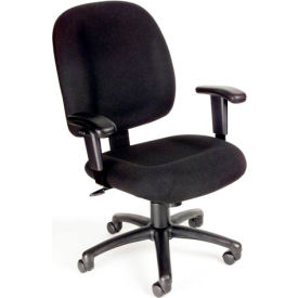 Boss Ergonomic Task Chair with Arms - Fabric - Mid Back - Black