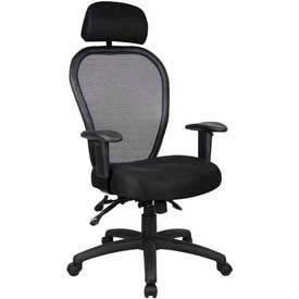 Mesh Chair with 3 Paddle Mechanism & Headrest Black