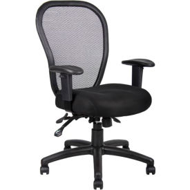 Boss Multifunction Mesh Office Chair with Arms - Fabric - Mid Back - Black