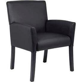 Executive Box Arm Chair with Mahogany Base Black