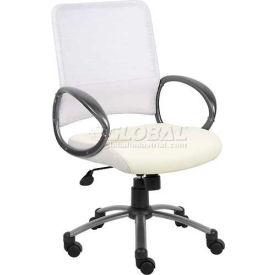 Boss White Mesh Back W/Pewter Finish Task Chair