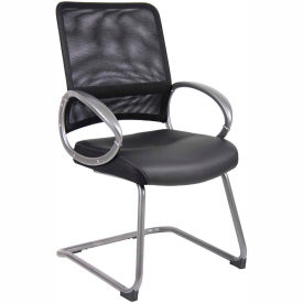 Boss Mesh Reception Guest Chair with Arms - Leather - Black