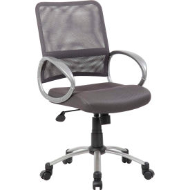 Boss Mesh Back Office Chair with Arms - Fabric - Mid Back - Charcoal