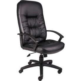 High Back Leather Executive Chair with Spring Tilt - Black