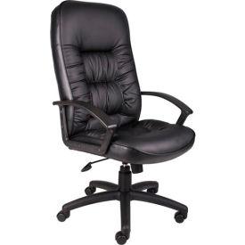 High Back Leather Executive Chair with Knee Tilt - Black