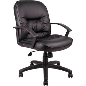 Boss Office Chair with Arms and Knee Tilt - Leather - Mid Back - Black