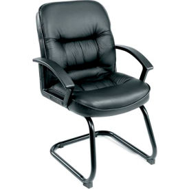 Mid Back Leather Guest Chair with Slide Base - Black