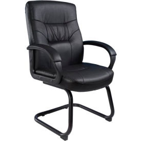Leather Guest Chair with Sled Base - Black