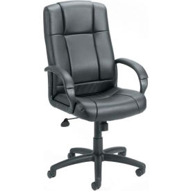 Boss Office Chair with Arms and Knee Tilt - Vinyl - High Back - Black