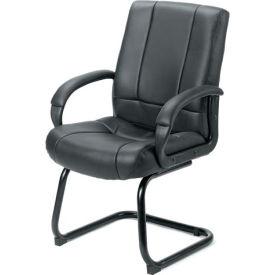 Vinyl Guest Chair with Steel Legs - Black