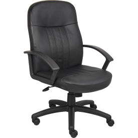 Executive Office Chair With Arms Leather High Back Black