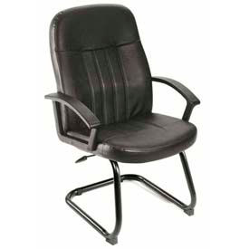 Boss Reception Guest Chair with Arms - Leather - Black