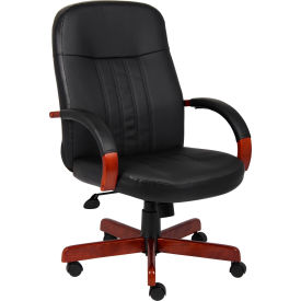 LeatherPlus Executive Chair with Cherry Finish
