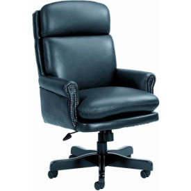 High Back Leather Chair with Mahogany Base - Black
