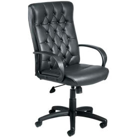 High Back Leather Chair with Knee Tilt - Black
