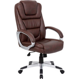 Boss Executive Office Chair - Leather - High Back - Brown - No Tool Assembly