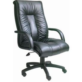 Italian Leather High Back Executive Chair - Black