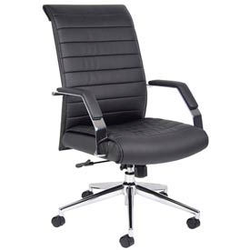 Boss Ribbed Office Chair with Arms and Knee Tilt - Vinyl - High Back  - Black