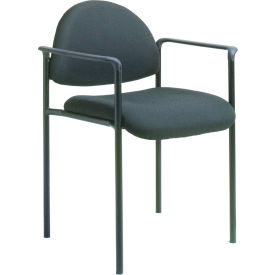 Diamond Stacking Chair with Arms - Black