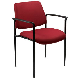 Square Back Diamond Stacking Chair with Arms - Burgundy