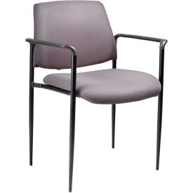 Square Back Diamond Stacking Chair with Arms - Gray