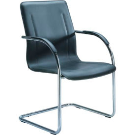 Leather Match Chair with Chrome Frame (Pkg Qty 4) - Black