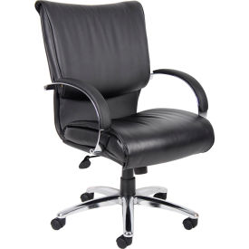 Mid Back Black LeatherPlus Executive Chair with Chrome Base & Arms