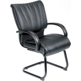 Boss Reception Guest Chair with Arms - Leather - Mid Back - Black