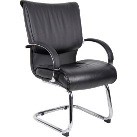 Mid Back Black LeatherPlus Guest Chair with Chrome Base & Arms