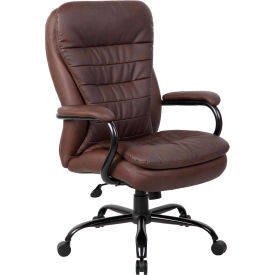 Boss Big and Tall Office Chair with Arms and Pillow Top - Leather - High Back - Brown