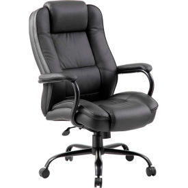 Boss Heavy Duty Executive Office Chair with Arms - Leather - High Back - Black