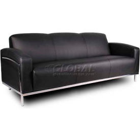 Boss Reception Sofa with Arms -Vinyl - Black