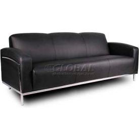 Boss Black Caressoftplus™ Sofa with Chrome Frame