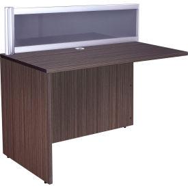 "Boss Reception Desk Return with Plexiglass - 24""W x 48""D x 42.5""H - Driftwood"