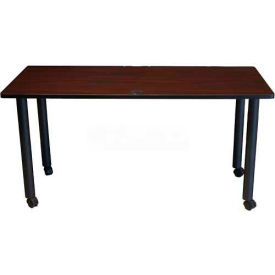 "Boss 60"" x 24"" Rectangular Training Table with Casters, Mahogany"