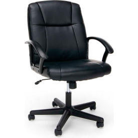 Essentials by OFM ESS-6000 Ergonomic Leather Executive Chair with Arms, Black