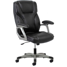 Essentials by OFM ESS-6030 High-Back Leather Executive Chair with Flip-Up Arms, Black
