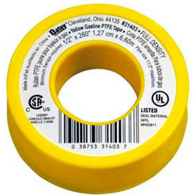 """Hercules 31403 Yellow Gas Line Thread Seal Tape With PTFE 1/2"""" x 260"""" - Dispenser Pack - Pkg Qty 10"""