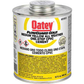 Oatey 31913 All Weather CPVC FlowGuard Gold 1-Step Yellow Cement 32 oz. - Pkg Qty 12
