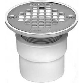 """Oatey 42382 2"""" - 3"""" PVC Drain with Round Brass Cast Grate with Square Ring - Pkg Qty 6"""