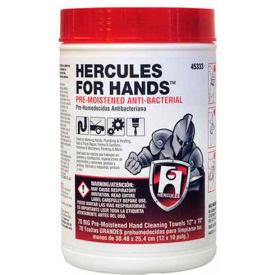 """Hercules 45333 Hercules For Hands - Pre-Moistened Towels 70 Towels Per Tub 12"""" x 10"""" - Pkg Qty 6"""