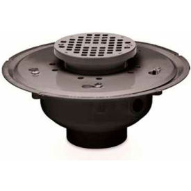 """Oatey 72026 6"""" PVC Adjustable Commercial Drain with 5"""" Brass Grate"""