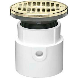 """Oatey 72039 4"""" PVC Hub Base Adjustable General Purpose Drain with 5"""" Brass Grate & Round Ring"""